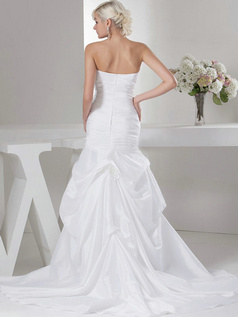 Mermaid Sweetheart Sweep Taffeta Flower Tiered Wedding Dresses