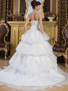 Princess Tube Top Brush Train Organza Bowknot Pick-Ups Wedding Dresses