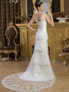 A-line Straps V-neck Court Train Tulle Beading Sequin Wedding Dresses