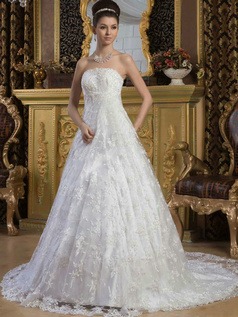 A-line Scalloped-edge Court Train Beading Sequin Lace Wedding Dresses