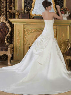 Over Hip Sweetheart Court Train Satin Beading Sequin Wedding Dresses