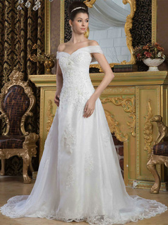A-line Off-the-shoulder Court Train Organza Beading Wedding Dresses