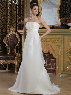 A-line Tube Top Brush Train Organza Beading Wedding Dresses