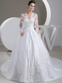 Ball Gown Scalloped-edge V-neck Brush Train Satin Long Sleeve Wedding Dresses With Bowknot