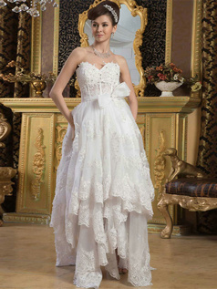 A-line Sweetheart Floor-length Organza Bowknot Lace Wedding Dresses