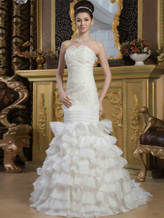 Mermaid Strapless Brush Train Organza Tiered Beading Wedding Dresses