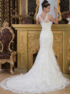 Mermaid Scalloped-edge Court Train Beading Sequin Lace Wedding Dresses