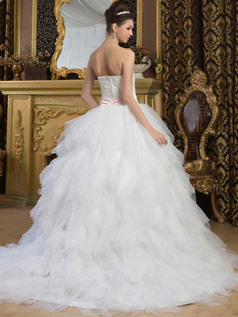 Princess Strapless Brush Train Organza Beading Ruffle Wedding Dresses