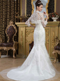 Mermaid Tube Top Brush Train Tulle Sequin Lace Wedding Dresses With Lace Jacket