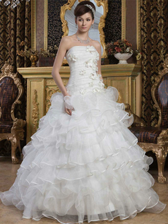 Princess Strapless Brush Train Organza Sequin Ruffle Wedding Dresses