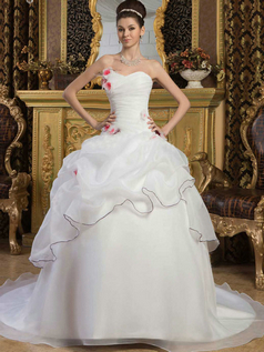 Princess Strapless Brush Train Organza Pick-Ups Wedding Dresses