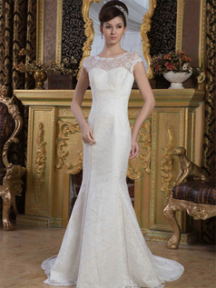 Mermaid Scalloped-edge Brush Train Lace Wedding Dresses