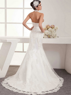 Mermaid Scalloped-edge Brush Train Beading Lace Wedding Dresses