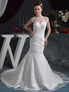 Mermaid Bateau Court Train Beading Sequin Lace Wedding Dresses With Cap Sleeves