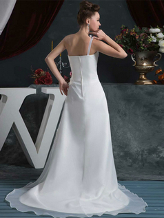 A-line One Shoulder Brush Train Organza Flower Wedding Dresses