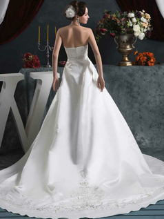 A-line Strapless Court Train Satin Sequin Sashes Wedding Dresses