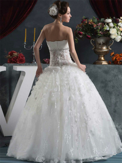 Ball Gown Strapless Floor-length Crystal Sequin Lace Wedding Dresses