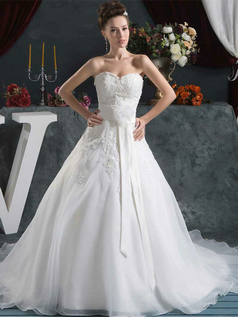 Ball Gown Strapless Brush Train Organza Flower Wedding Dresses