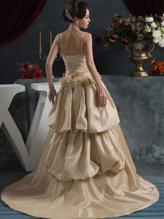A-line Spaghetti Straps Brush Train Satin Flower Wedding Dresses