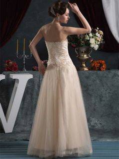 A-line Strapless Floor-length Tulle Beading Lace Wedding Dresses