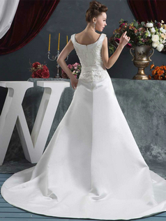 A-line Scoop Brush Train Satin Beading Sequin Wedding Dresses