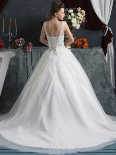 Ball Gown Straps Court Train Tulle Flower Sequin Wedding Dresses