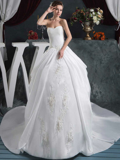 Ball Gown Strapless Court Train Satin Sequin Wedding Dresses