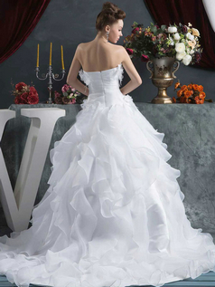 Princess Strapless Brush Train Organza Flower Ruffle Wedding Dresses