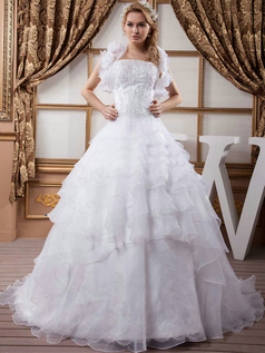 Ball Gown Tube Top Brush Train Organza Sequin Wedding Dresses With Jacket