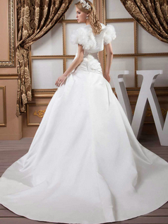 Over Hip Sweetheart Brush Train Satin Sequin Wedding Dresses With Jacket