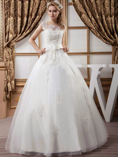 Ball Gown Square Floor-length Organza Beading Flower Wedding Dresses