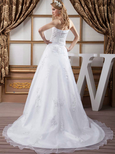 A-line Strapless Brush Train Organza Beading Sequin Wedding Dresses