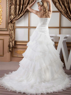 Over Hip Strapless Brush Train Organza Beading Sequin Wedding Dresses