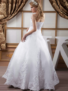 Ball Gown Strapless Floor-length Satin Beading Wedding Dresses