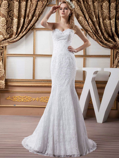 Mermaid Scalloped-edge Brush Train Sequin Beading Lace Wedding Dresses