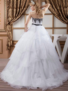 Ball Gown Strapless Brush Train Organza Beading Wedding Dresses