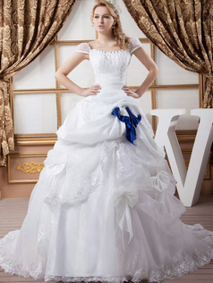 Princess Bateau Brush Train Organza Beading Wedding Dresses With Cap Sleeves