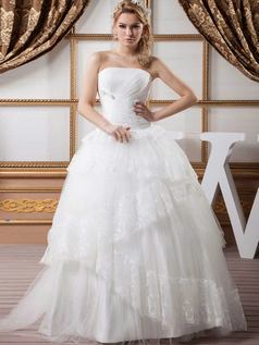 Ball Gown Strapless Floor-length Tulle Wedding Dresses