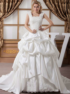 Princess Scalloped-edge Brush Train Satin Pick-Ups Wedding Dresses With Beading