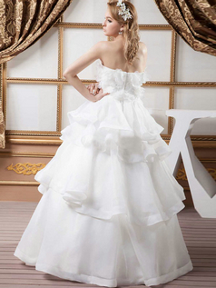 Princess Strapless Floor-length Organza Beading Wedding Dresses