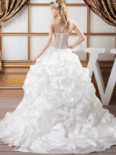 Princess Halter Brush Train Taffeta Pick-Ups Wedding Dresses With Beading