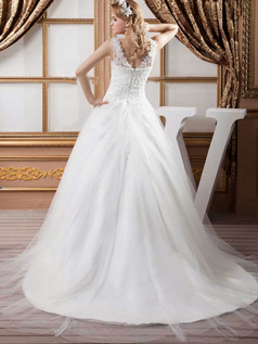 Ball Gown Straps Brush Train Tulle Beading Sequin Wedding Dresses