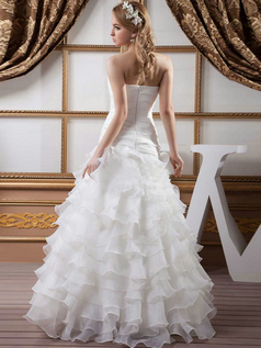 Over Hip Strapless Floor-length Organza Tiered Wedding Dresses
