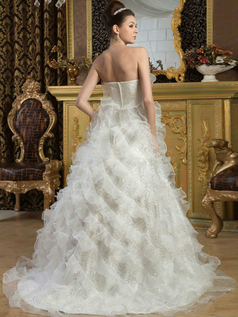 Princess Strapless Brush Train Organza Sequin Wedding Dresses
