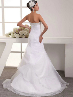 Mermaid Strapless Brush Train Organza Side-draped Wedding Dresses With Beading