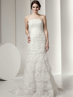 Mermaid Scalloped-edge Brush Train Beading Sequin Lace Wedding Dresses