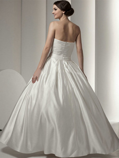 Ball Gown V-neck Floor-length Satin Bowknot Crystal Wedding Dresses