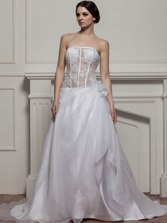 A-line Tube Top Brush Train Organza Beading Flower Wedding Dresses With Semi Transparent