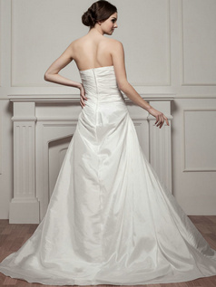 A-line Strapless Brush Train Taffeta Beading Sequin Wedding Dresses