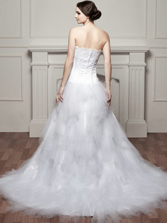 A-line Scalloped-edge Brush Train Tulle Beading Ruffle Wedding Dresses